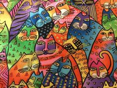 Laurel Burch Felines & Canines Fat Cats Oop Htf New 1 Fat Quarter 18X22 Inches #LaurelBurch