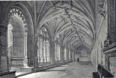 Antique print Cloister Jerónimos Monastery Belem Belém Lisbon Portugal 1883