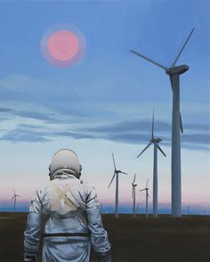 """supersonicart:  """"Scott Listfield at Station 16.Artist Scott Listfield, in addition to his exhibition """"Franchise,"""" also recently had a solo exhibition of brand new, awe-inspiring paintings of his wandering astronaut at Station 16 Gallery in Montreal,..."""