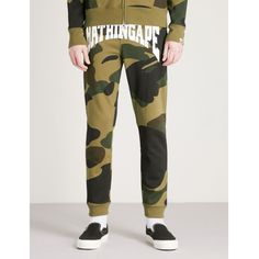 A Bathing Ape Camo-print cotton-jersey jogging bottoms ($315) ❤ liked on Polyvore featuring men's fashion, men's clothing, men's activewear, men's activewear pants and mens activewear pants
