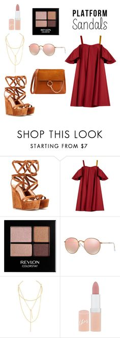 """Platform sandals"" by hanakalesic ❤ liked on Polyvore featuring Gianvito Rossi, Anna October, Revlon, Ray-Ban, Jules Smith and Rimmel"