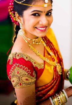 #SouthIndian #BridalBlouse designs with embroidery patterns