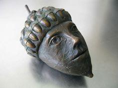 Bronze Acorn Head by Leslie Fry