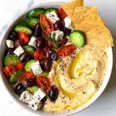 Greek Salad Hummus - The Dish On Healthy Greek Recipes, Veggie Recipes, Veggie Food, Creamy Hummus Recipe, Make Hummus, Greek Dishes, Mediterranean Diet Recipes, Greek Salad, Best Appetizers