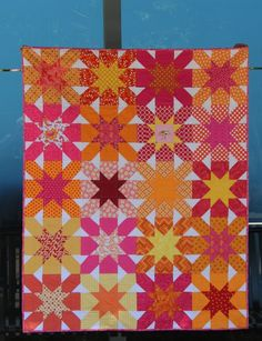 A Quilter's Table: Starcrossings, a FAITH Circle quilt // great pattern for vintage sheets