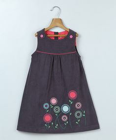 Look at this Beebay Gray Floral Embroidered A-Line Dress - Infant, Toddler & Girls on #zulily today!