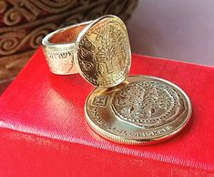 Biblical coin ring made of 2 Israeli coins. ring with history. 100% handmade. 42$. Free shipping