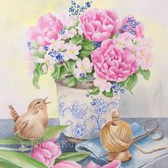 A watercolor painting with spring scene with tulips and apple blossoms in a vase. A wren sings birdsong. Watercolor Bird, Watercolor Illustration, Watercolor Paintings, Spring Scene, Apple Blossoms, Wren, Watercolors, Tulips, Vase