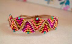 Boho bracelet - Macrame Bracelet - Bright colorful bracelet - Micro macrame bracelet - bohemian bracelet - Adjustable ethnic bracelet