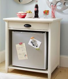 Beauty Mini-Fridge in table stand. Good to place in bathroom or bedroom