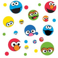 Amazon Com Roommates Rmk1698scs Sesame Street Dots Peel Stick Wall Decals Home
