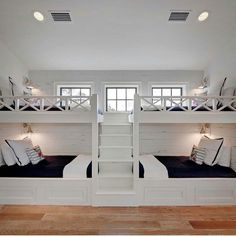 Boys Bunk Room - Design photos, ideas and inspiration. Amazing gallery of interior design and decorating ideas of Boys Bunk Room in bedrooms, boy's rooms by elite interior designers. Bunk Beds Built In, Bunk Beds With Stairs, Kids Bunk Beds, Queen Bunk Beds, Double Bunk Beds, Four Bunk Beds, Adult Bunk Beds, White Bunk Beds, Bed Rails