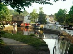 The Peak Forest Canal meets the main street in Whaley Bridge - in the High Peak District Derbyshire