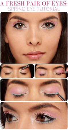 A Fresh Pair of Eyes. Eye makeup tutorial. Light pink eyeshadow with white an black eyeliner to create this effect