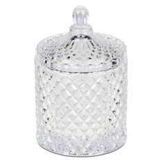 Mio Diamante Burk. Vacker glasburk med lock. Klarglas. Höjd 13 cm Diameter 8,5 cm.  69 SEK