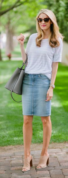 Denim Skirt And Stripes Casual Streetstyle by Ivory Lane