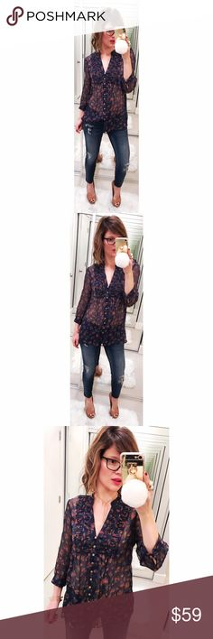 ➡Joie Ruffle Floral Sheer Silk Blouse⬅ Joie makes the most gorgeous silk tops and this blouse is the perfect example. Throw a leather jacket over it to give it a little edge or keep it romantic and feminine. Joie Tops Blouses