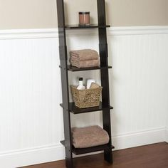 Hawthorne Bathroom Wood Ladder Linen Tower, Espresso