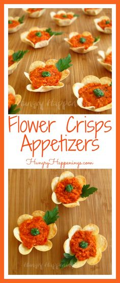 Looking for an amazingly delicious appetizer recipe to serve for Easter? Try making these beautiful Flower Crisps Appetizers, they'll have your party guests dying to get the recipe! Easter Appetizers, Finger Food Appetizers, Yummy Appetizers, Yummy Snacks, Appetizer Recipes, Finger Foods, Edible Crafts, Food Crafts, Edible Art