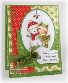 "Theme for Christmas 2012 ""Friendship Warms the Heart,"" with snowmen and snowflakes and hearts."