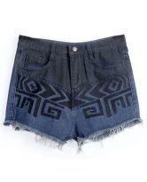 Navy Fringe Geometric Print Pockets Denim Shorts $22.62