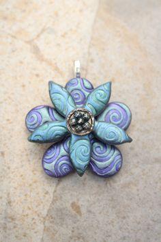 Artisan Crafted Flower Pendant Flower Focal Bead Green Blue Purple Art Bead by Kim Peters