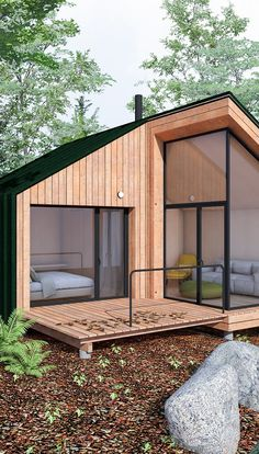 Container House Design, Tiny House Design, Tiny House Cabin, Cabin Homes, A Frame House Plans, Prefabricated Houses, Forest House, Village Houses, Little Houses