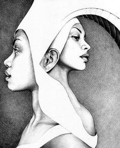 """Solo"" - T.S Abe (b. 1989), graphite {beautiful female head african-american black women surreal b+w profile portrait pence drawing} tsabe.co.uk"
