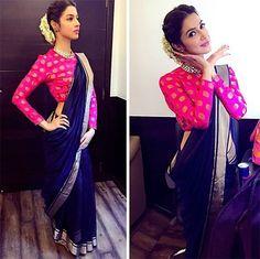 Divya Khosla Kumar in chanderi silk saree