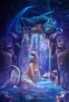 Conceptual Illustrations by Perla Marina, Fantasy creatures, Dragon, mermaid Fantasy Mermaids, Mermaids And Mermen, Real Mermaids, Mermaid Fairy, Mermaid Cave, Mermaid Pics, Manga Mermaid, Mermaid Pictures, World Of Fantasy