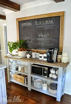 23 Brew-ti-fully Designed Coffee Station Ideas - Don Pedro Build your own coffee station now! Here are the best coffee station and coffee bar design ideas for your home. Check 'em out! Decor, Home Diy, Home Kitchens, Kitchen Remodel, Sweet Home, Kitchen Decor, New Kitchen, Home Decor, Dining Storage