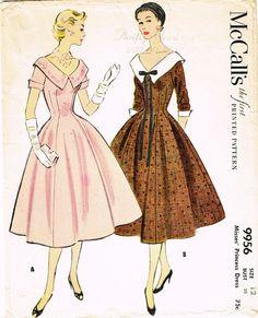 1950s Vintage Misses Dress 1954 McCalls VTG Sewing Pattern 9956 Size 1 – Vintage4me2