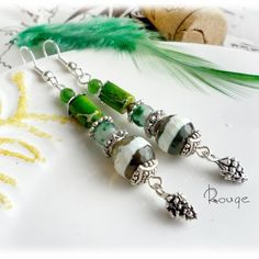 "Earrings ""Pine forest"", pine earrings, pinecone, earrings green, earrings with agates, earrings with variscite, earrings with green stones. by RougemarketJew on Etsy"