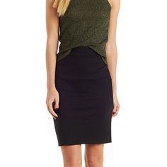Charlotte Russe Bodycon High-Waisted Pencil Skirt ($19) ❤ liked on Polyvore featuring skirts, black, high waisted knee length skirt, knee length pencil skirt, high waisted skirts, high waist knee length pencil skirt and stretch pencil skirt