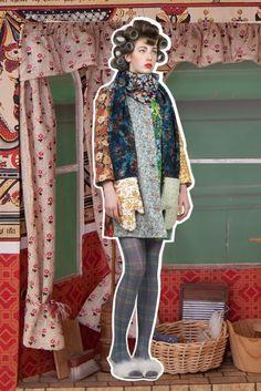 Bay window: Yardwork coat, Ovenmitt scarf 'Everything But The Kitchen Sink' - Lu Flux Autumn Winter 2012