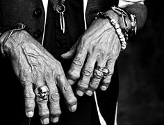 Keith Richards' hands by Francesco Carrozzini (love the Skull ring!)
