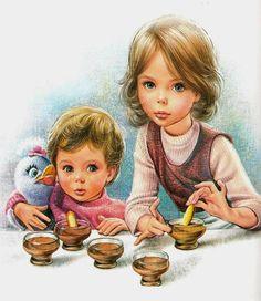 Drawings of Marcel Marlier known as Martine Marcel, Illustrator, Retro Images, Kid Poses, Holly Hobbie, Children's Book Illustration, Cartoon Kids, Anime Art Girl, Vintage Children