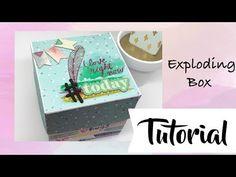 Tutorial: Exploding Box o Caja Explosiva Scrapbook Box, Exploding Boxes, Explosion Box, Pop Up Cards, Snail Mail, Origami, Decoupage, Recycling, Pokemon