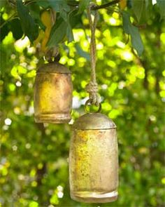 Buddhist temple bells in the trees in the garden