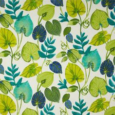 This is a green and blue floral outdoor fabric by Swavelle Mill Creek Fabrics, suitable for any decor. Perfect for pillows, cushions and furniture.v112ANF