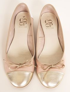 Barney's Co-Op Cap-Toe Ballet Flats // soft pink with gold toes and ballet bow detail