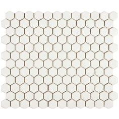Transform your bathroom or kitchen into a Victorian oasis with this pack of 10 white porcelain mosaic tiles that feature a classic hexagon shape. The matte finish makes them versatile to use in smaller projects, such as for tabletops or in artworks.
