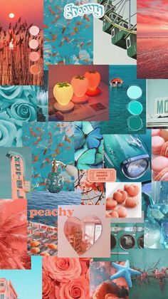 Turquoise and coral aesthetic wallpaper