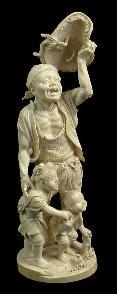 Finely Carved 19th Century Japanese Cross Hatched Ivory Figural Group of Man and Two (2) Boys. Signed on Imbedded Cartouche. A Few Cracks or else Good to Very Good Condition. Measures 15 Inches Tall and Base Measures 5-1/4 Inches Wide.