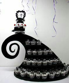 The Nightmare before Christmas cupcake wedding cake.