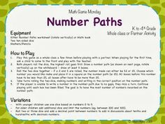 Number Paths - math warm up game for grades K to 4th with easy modifications!