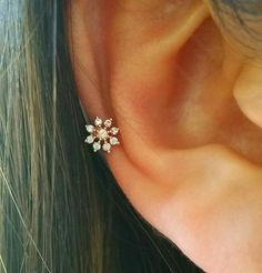 CZ Snowflake cartilage earring simple cz by ShopOrigamiJewels