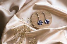 Blue modern minimalist earrings white flower pattern | Etsy Beautiful Gift Boxes, Minimalist Earrings, Polymer Clay Earrings, Modern Minimalist, Photo Jewelry, Flower Patterns, White Flowers, Earrings Handmade, Lotion