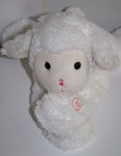 "Big 20"" plush LAMB. Pretty White and Cream Plush with BAA SOUND in front foot. This pretty sheep is Laying. Soft Stuffed by Dongguan Soyea Toy #DangguanSoyeaToyCoLtd #Easter"