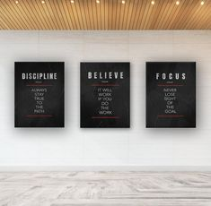 Motivational Wall Decor / Office Wall Art / Inspirational Canvas Print - 3 Piece Bundle Discipline/Believe/Focus Home Gym Decor, Office Wall Decor, Office Walls, Office Interior Design, Office Interiors, Office Wall Design, Office Designs, Gray Interior, Interior Doors